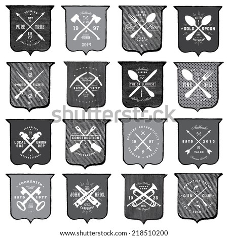 Vector distressed shield template set. Easy to edit, all pieces are separated.  - stock vector