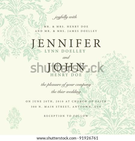 Vector Distressed Victorian Background. Easy to edit. Perfect for invitations or announcements. - stock vector