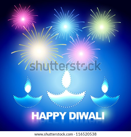 vector diwali background with fireworks - stock vector