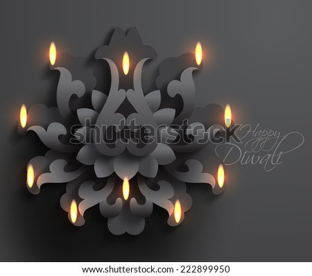 Vector Diwali Diya (Oil Lamp). - stock vector