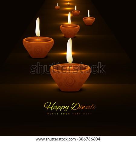 Vector Diwali Diya Oil Lamp Colorful Background illustration - stock vector