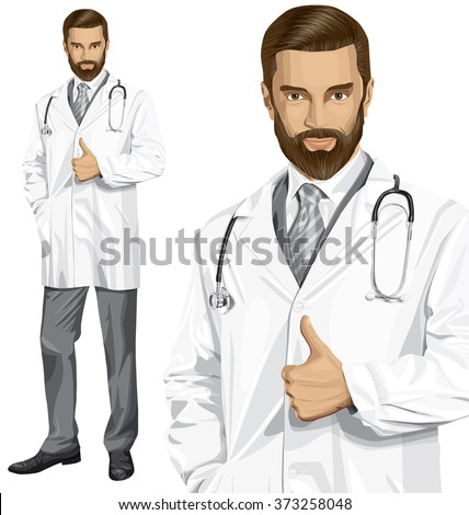 Vector doctor man with stethoscope shows well done - stock vector