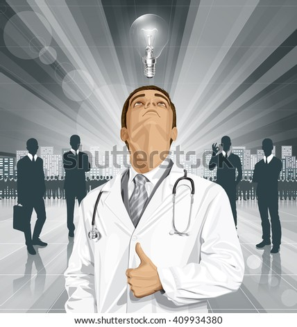 Vector doctor man with stethoscope shows well done, looking up, looking for idea,  - stock vector