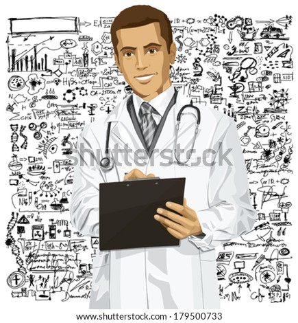 Vector doctor man writing something with marker on clipboard