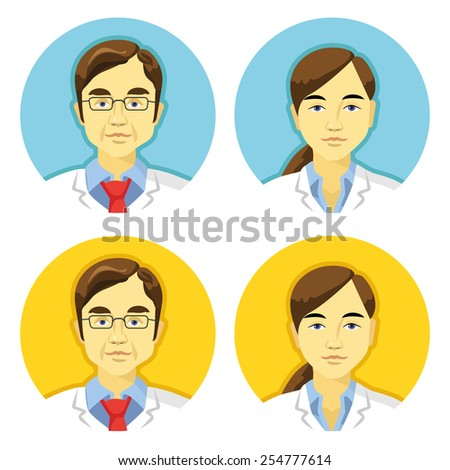 Vector doctors avatars icons set. 2 beautiful trendy color schemes - blue and yellow. Creative illustrations, signs and symbols, graphic design elements.Awesome concepts. Isolated on white background. - stock vector