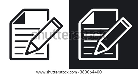 Vector document with pen icon. Two-tone version on black and white background