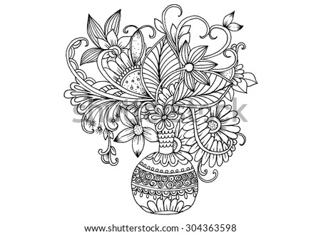 Vector dodle floral illustrated in black and white. Bouquet of flowers in a vase - stock vector