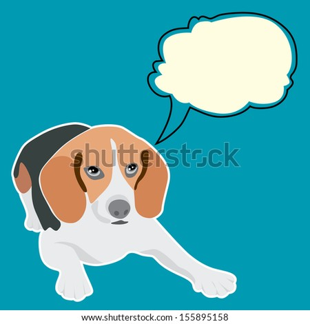 vector dog Beagle breed with thought bubble  - stock vector