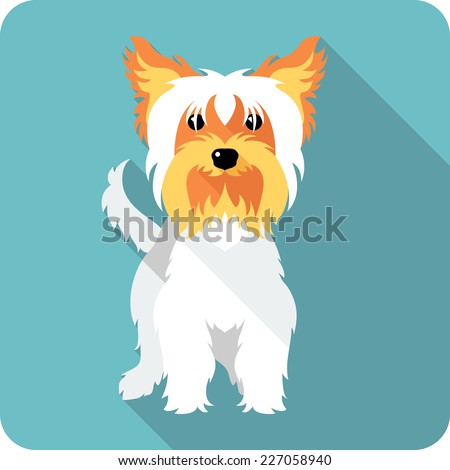 Vector dog Yorkshire terrier standing  icon flat design  - stock vector