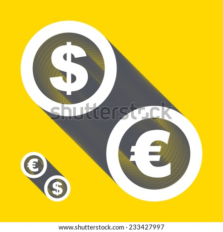 Vector dollar, euro icons. Signs set. Vector illustration.