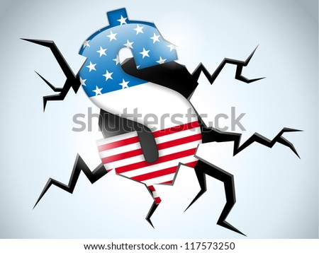 Vector - Dollar Money Crisis United States of America Flag Crack on the Floor - stock vector