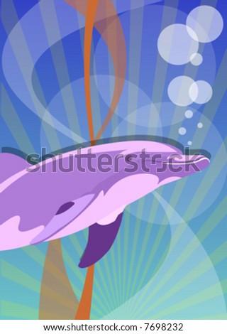 vector dolphin - stock vector