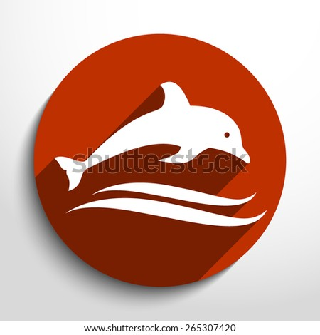 Vector dolphin flat icon illustration. - stock vector