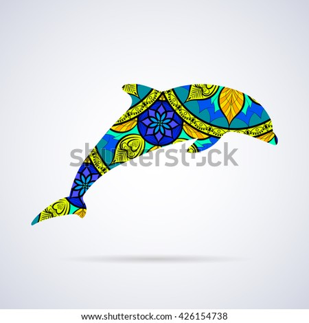 Vector Dolphin with Mandala Patterns Elements for logo, banners, flyers, posters, printing on T-shirts. Mandala pattern in swatches panel. - stock vector