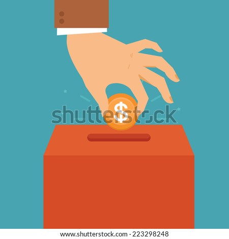 Vector donation concept in flat style - hand putting coin in the box for charity organization - stock vector