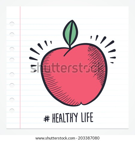 Vector doodle apple icon illustration with color, drawn on lined note paper.  - stock vector