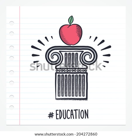 Vector doodle apple on pillar icon illustration with color, drawn on lined note paper. - stock vector