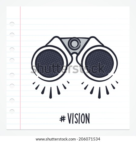 Vector doodle binocular icon illustration with color, drawn on lined note paper. - stock vector