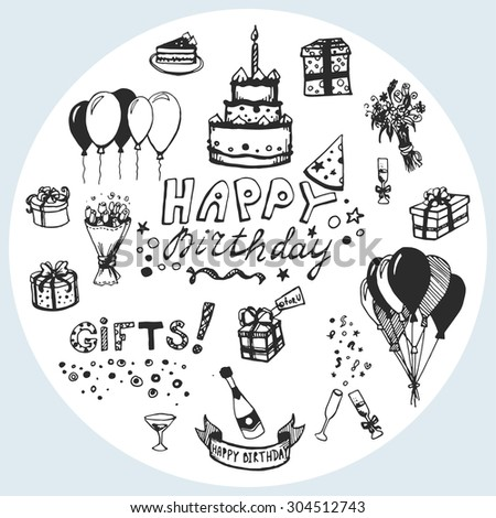 Vector Doodle Birthday Card Design Vector 304512743 – Doodle Birthday Card