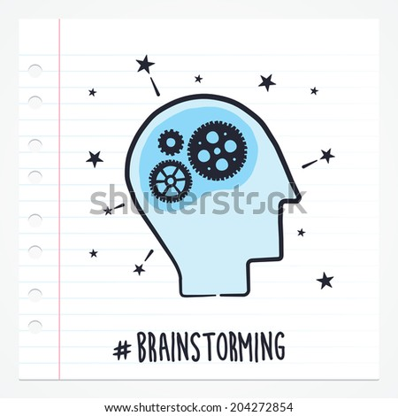 Vector doodle brainstorming icon illustration with color, drawn on lined note paper. - stock vector