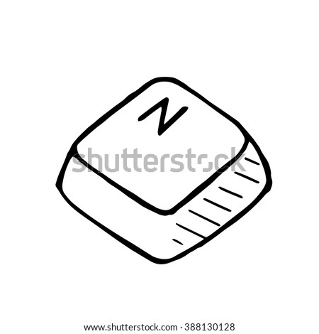 Vector doodle button N. Hand drawn isolated illustration