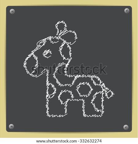 Vector doodle chalk drawn giraffe icon on school blackboard  - stock vector