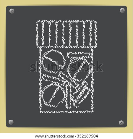 Vector doodle chalk drawn tablet bottle on school blackboard . Health icon  - stock vector