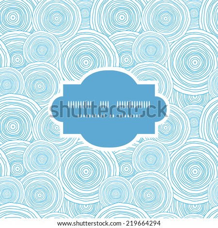 Vector doodle circle water texture frame seamless pattern background - stock vector
