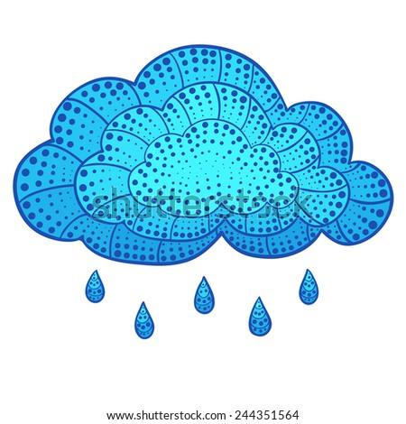 Vector doodle cloud and rain. Eps8. - stock vector