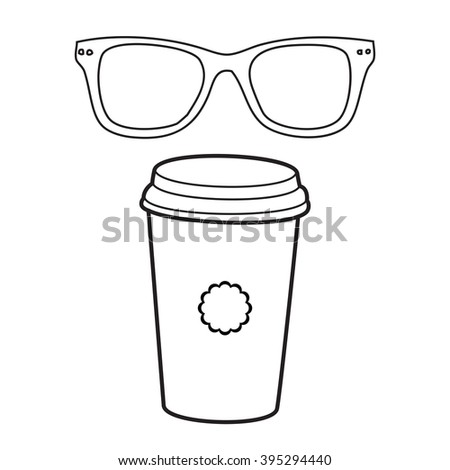 Vector doodle coffee cup and eye glasses, hand drawn illustration - stock vector