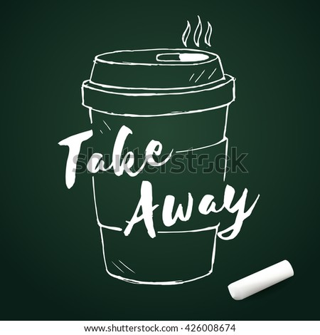 Vector doodle coffee cup with chalk, hand drawn elements - stock vector