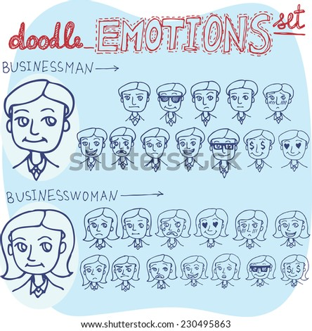 Vector doodle emotions set on business topic with businessman and business woman