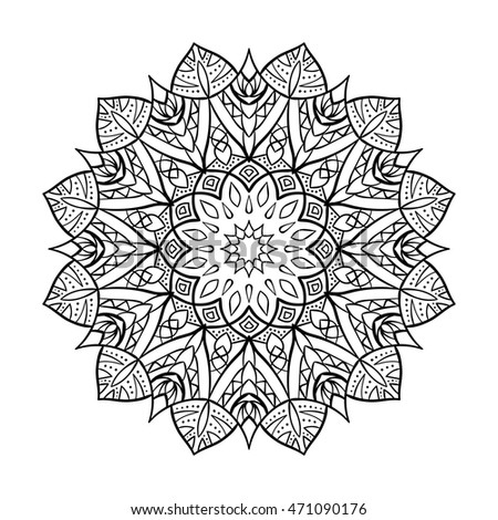 Vector Doodle Flower Mandala Coloring Book For Adult And ChildrenColoring Page Outline