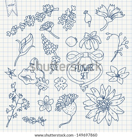 Vector doodle flower set on squared paper - stock vector