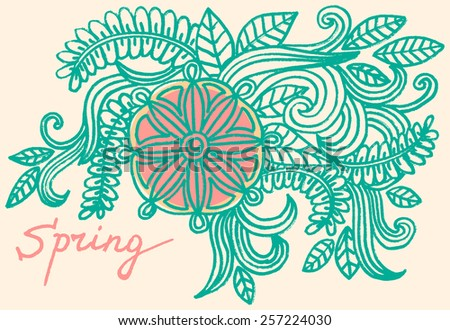 Vector doodle flowers - stock vector