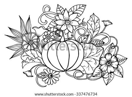 Vector doodle flowers and pumpkin - stock vector
