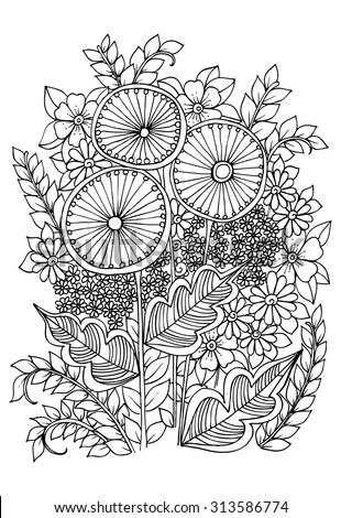 vector doodle flowers on a white  - stock vector