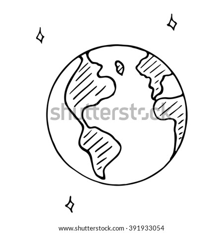 Vector doodle globe icon, hand drawn earth isolated - stock vector