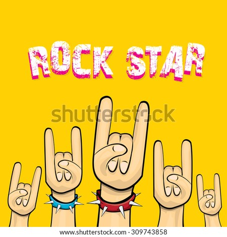 vector doodle hand sign rock n roll music. rock n roll icon. Rock concert poster design template. rock star print
