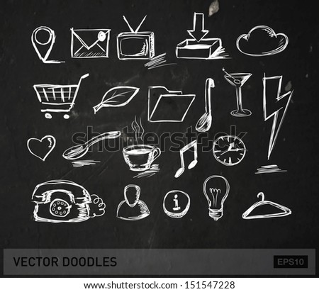 Vector doodle icons and objects collection, chalk on blackboard - stock vector