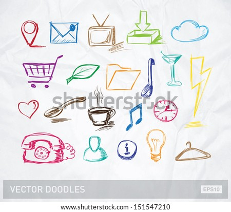 Vector doodle icons and objects collection, color version on crumpled paper - stock vector