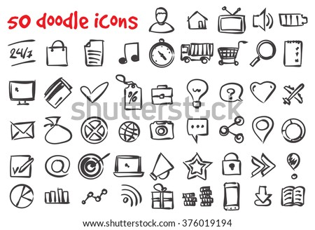 Vector doodle icons set. Stock illustration for design - stock vector