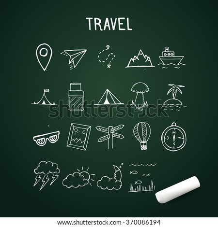 Vector Doodle Icons, travel hand drawn objects with chalk