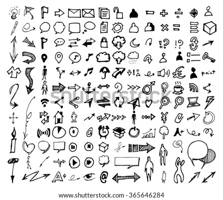 Vector Doodle Icons. Universal Set. - stock vector