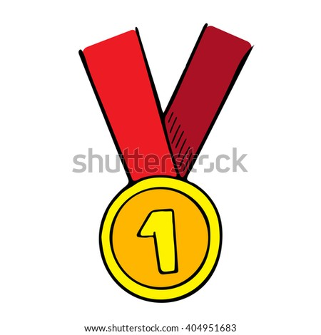 Vector doodle illustration of a medal with red ribbon