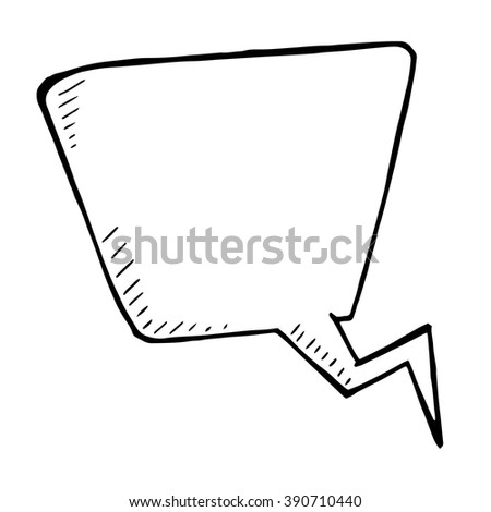 Vector doodle isolated speech bubble, hand drawn illustration white background - stock vector