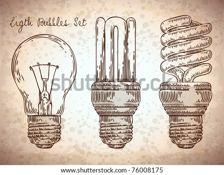vector doodle light bulbs set - stock vector