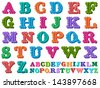 Vector doodle of a complete retro styled alphabet in caps, written with colorful tones - stock photo