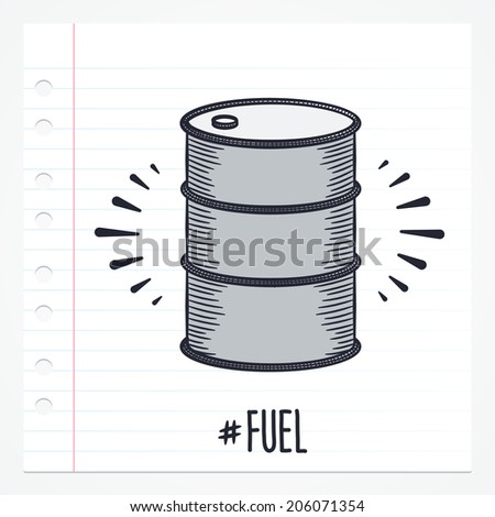 Vector doodle oil barrel icon illustration with color, drawn on lined note paper. - stock vector