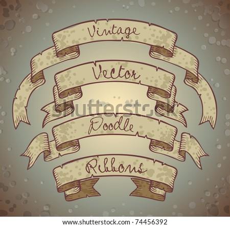 vector doodle ribbon set - stock vector